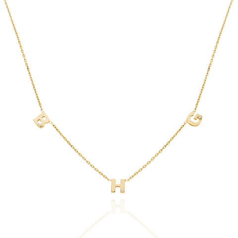 14k Gold Personalized Diamond Initial Necklace