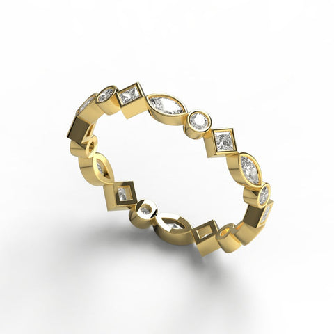 14k Gold Princess Marquise and Round Diamond Eternity Wedding Band