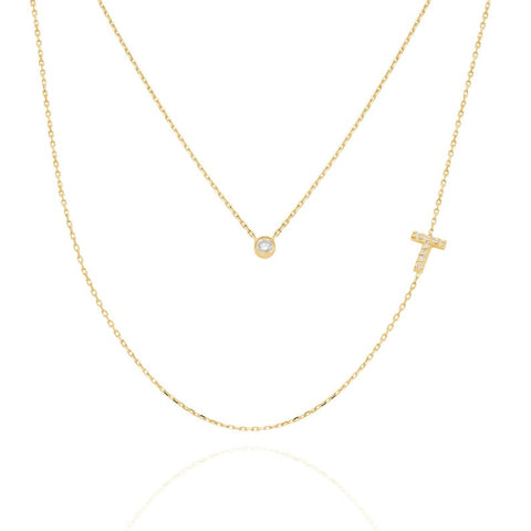 14k Gold Bezel Diamond Initial Charm Necklace