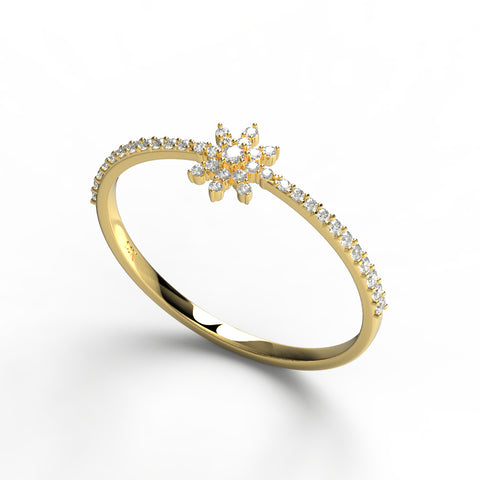 14k Gold Diamond Snowflake Wedding Band