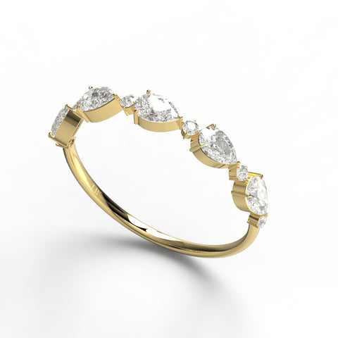 Pear and Round Diamond Wedding Ring
