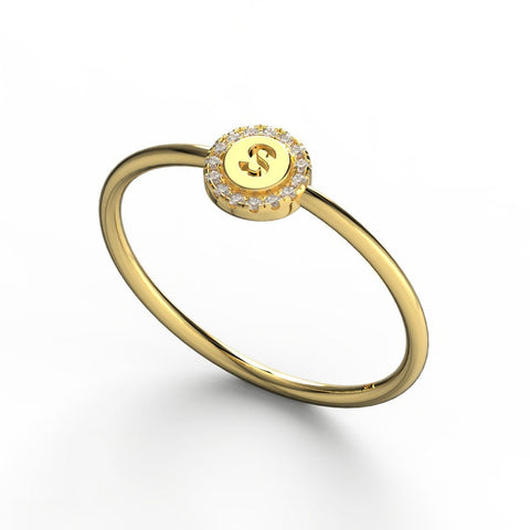 14k Gold Pave Diamond Disc Initial Ring