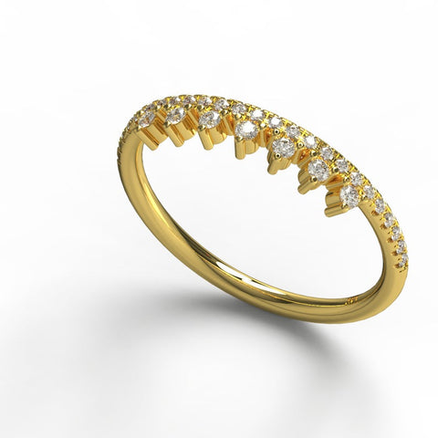 14k Gold Crown Shape Diamond Ring