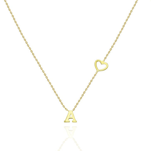 14k Gold Open Heart and Initial Charm Necklace
