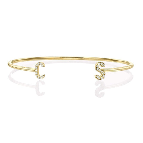 14k Diamond Initial Cuff Bangle