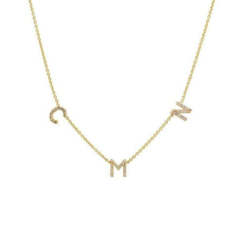 14k Personalized Pave Diamond Initial Necklace