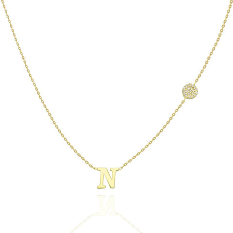 14k Gold Diamond Disc Initial Charm Necklace