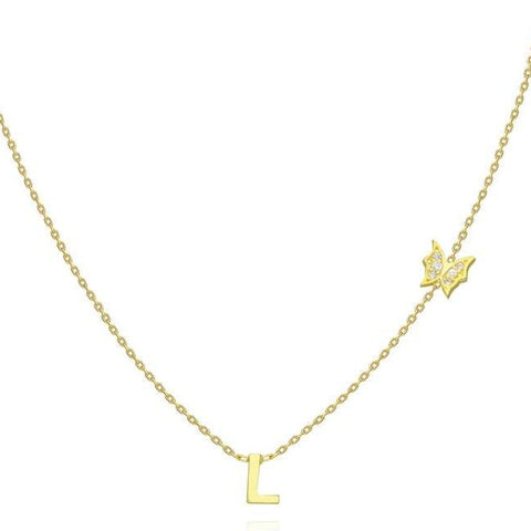 14k Gold Diamond Butterfly and Initial Charm Necklace