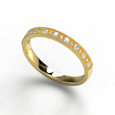 14k Gold Diamond Milgrain Wedding Band