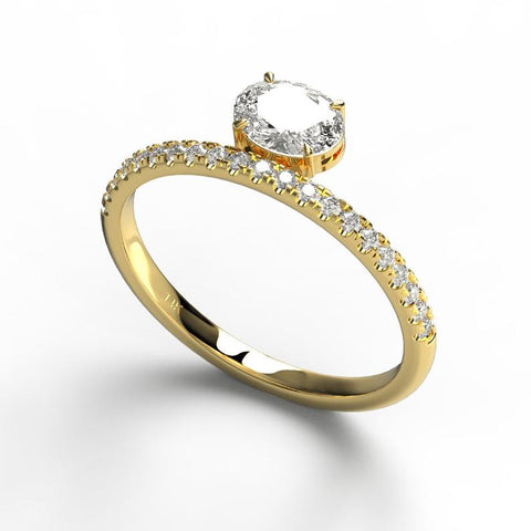 14k Oval and Round Diamond Wedding Ring