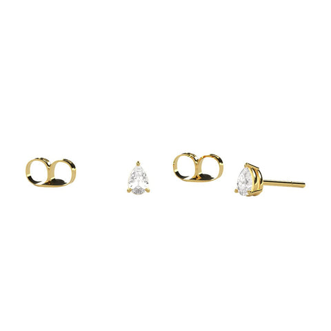 Gold Diamond Pear Stud Earrings