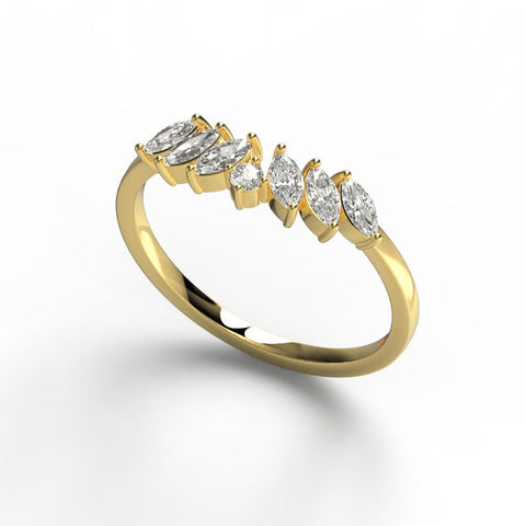 14k Marquise and Round Curved Diamond Wedding Ring