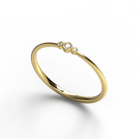 14k Gold Bezel Round Diamond Stacking Ring