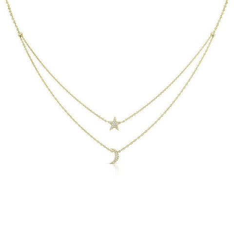 14k Gold Diamond Star Moon Charm Layering Necklace