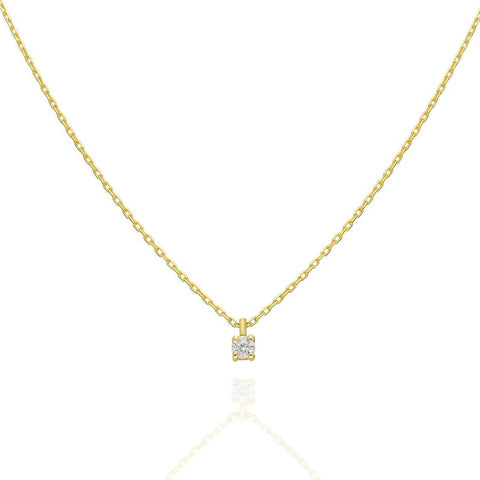 14k Gold or Silver Diamond Prong Necklace