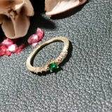Green Emerald and Diamond Wedding Band
