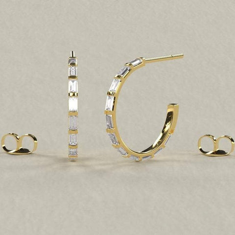 0.60CT Baguette Diamond Hoop Stud Earrings
