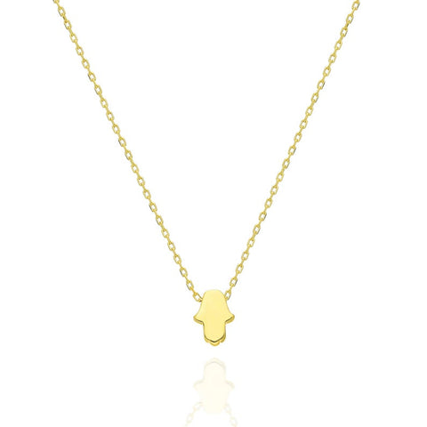 14k Gold Hamsa Initial Charm Necklace