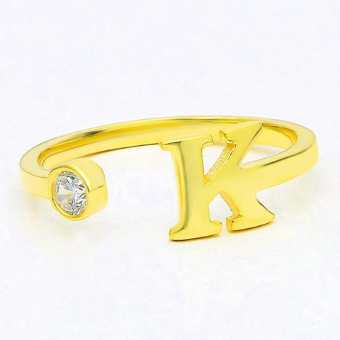 Gold Diamond Initial Stack Cuff Ring