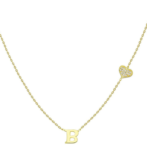 Gold Pave Diamond Heart and Initial Charm Necklace