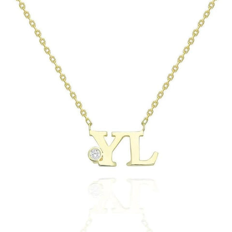 14k Gold Bezel Diamond Initial Necklace
