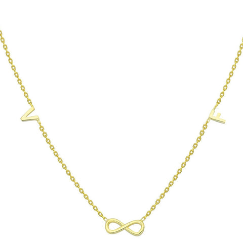 Gold Infinity and Initial Charm Necklace