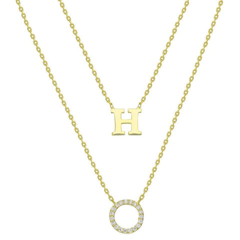 Diamond Halo Circle and Initial Charm Necklace
