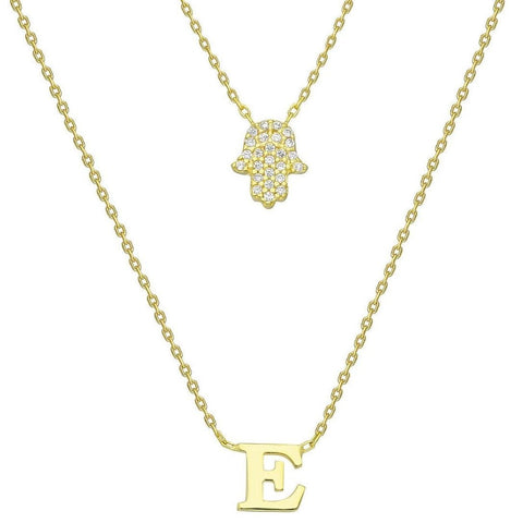 Gold Pave Diamond Hamsa Initial Charm Necklace