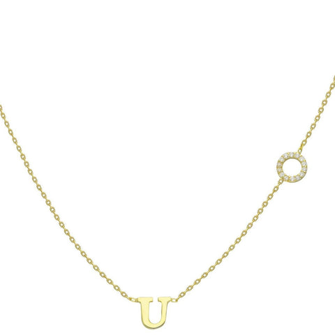 Gold Diamond Halo and Initial Charm Necklace