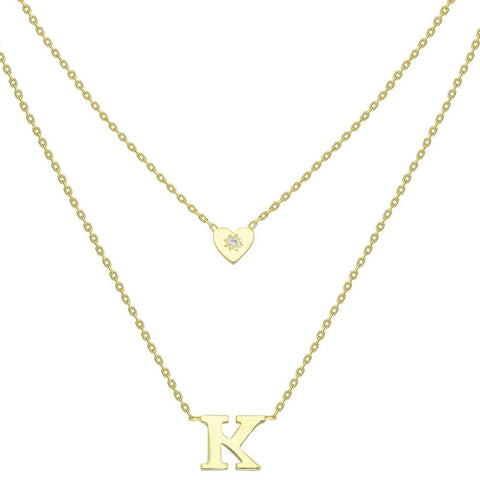 Gold Heart and Initial Charm Necklace