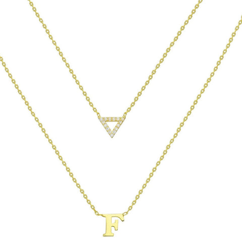 Gold Diamond Pyramid and Initial Charm Necklace