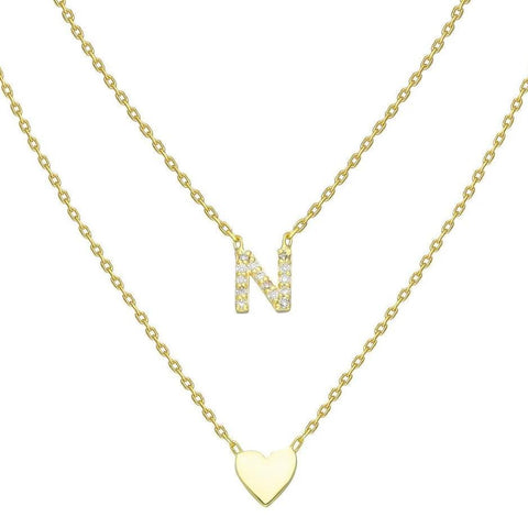 Gold Pave Diamond Heart Initial Charm Necklace