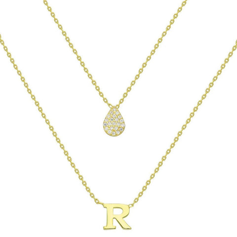 Gold Pave Diamond Teardrop Initial Charm Necklace
