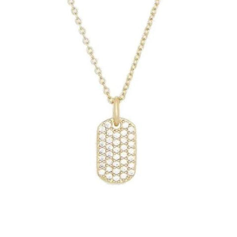 Diamond Dog Tag Pendant Necklace
