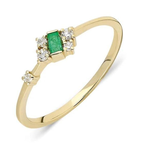 5 Diamond Emerald Ring