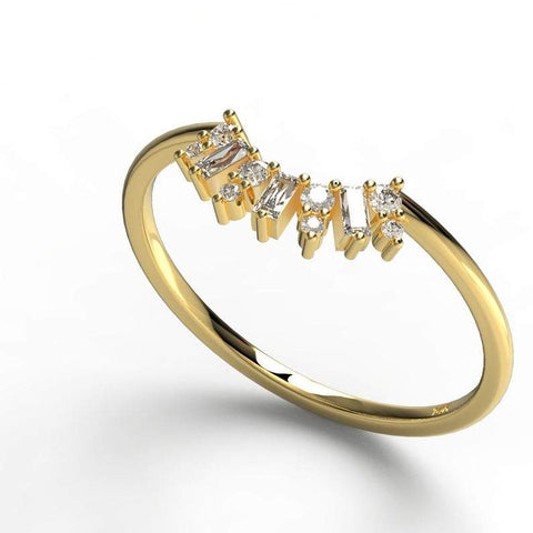 Gold Baguette and Round Diamond Wedding Ring