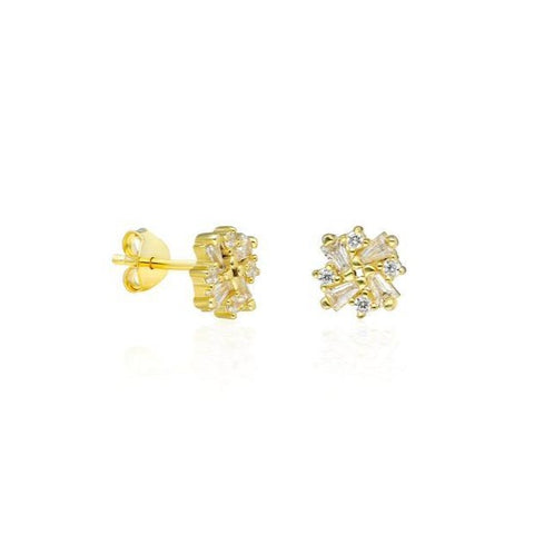 14k Baguette Diamond Stud Earrings