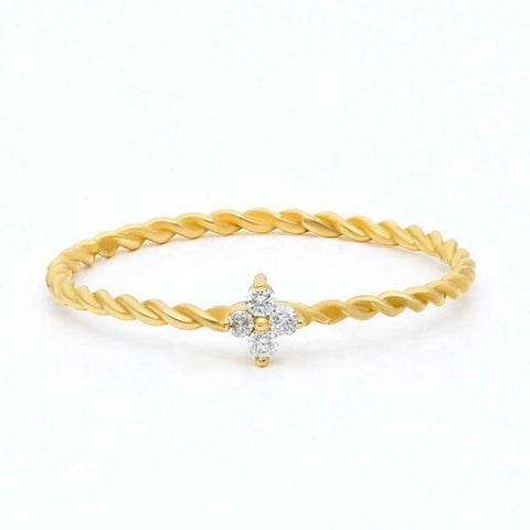 Gold Diamond Twisted Stacking Ring