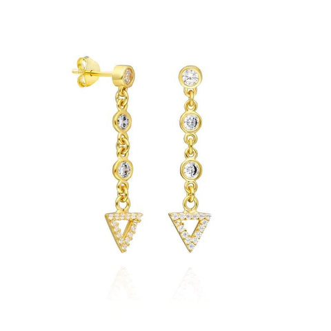 Diamond Dangle Triangle Earrings