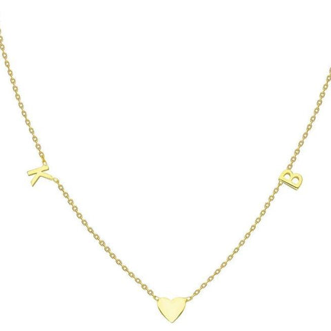 Gold Heart 2 Initial Charm Necklace