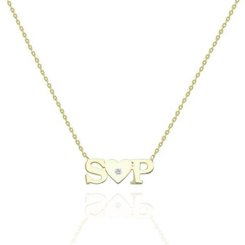 Gold Initial Heart Charm Necklace