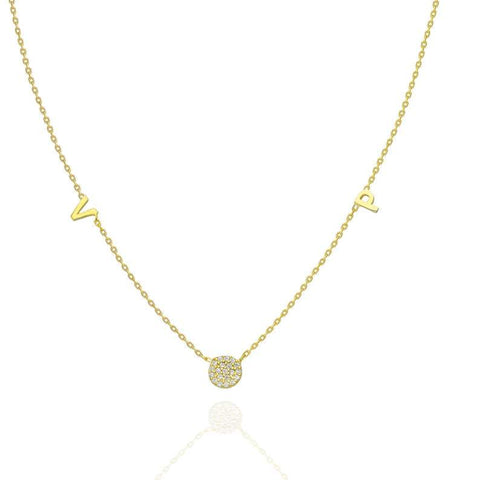Diamond Disc Initial Charm Necklace