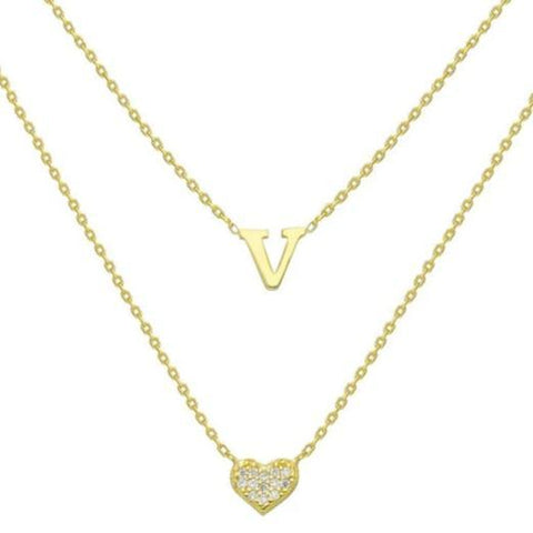 Gold Diamond Layered Initial Heart Necklace