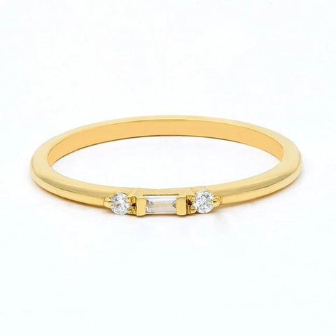 Gold Baguette Diamond Stacking Ring