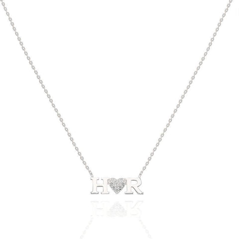 Diamond Double Letter Heart Necklace