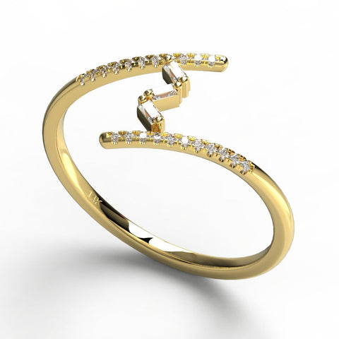 Gold Open Design Baguette Diamond Band