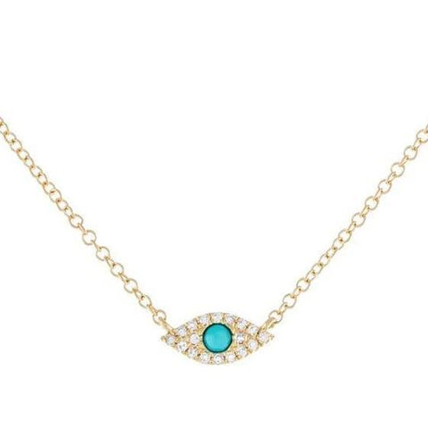 Gold Turquoise and Diamond Evil Eye Protection Necklace