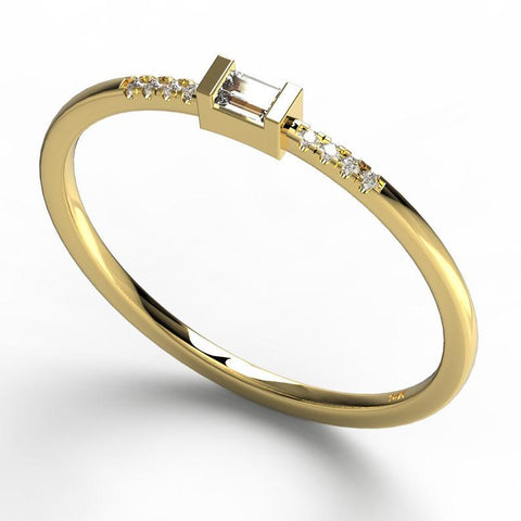 Gold Baguette and Round Diamond Ring