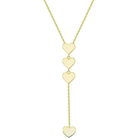 Gold Lariat Heart Dangle Necklace