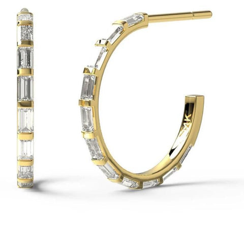0.60CT Baguette Diamond Hoops